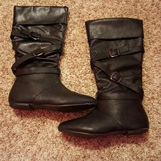 Black Boots Black boots with buckles for looks & a zipper, barely worn Shoes