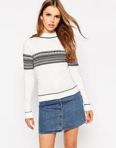 ASOS Jumper In Structured Knit With Fair Isle