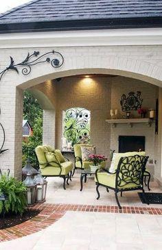Back patio porch Outdoor Rooms, Outdoor Living, Outdoor Decor, Backyard Patio Designs, Outside Living, Back Patio, My Dream Home, Exterior Design, Beautiful Homes