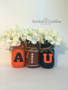 Auburn University Mason Jars War Eagle Auburn by RebekahCreations