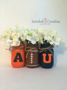 Auburn University Mason Jars War Eagle Auburn by RebekahCreations