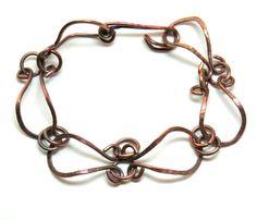 Hammered Raw Copper Wire Link Bracelet with by DesertDabbler