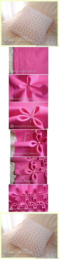 DIY Tutorial DIY Pillow Shams / DIY Poufs Flower Pillow Case - Bead&Cord
