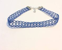 Blue Lace Choker, Blue Choker, Blue Necklace, Lace Necklace, Lace Choker, Festival Jewellery, Festival Fashion, Blue Festival Jewelry Blue Choker, Blue Necklace, Festival Jewellery, Boho Jewellery, Purple Themes, Blue Lace, Gifts For Her, Rainbow Wedding, Blue Wedding