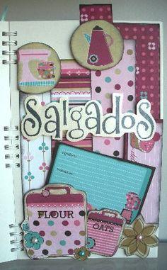 Paloma Scrapbook & Arte: Caderno de Receitas 2 - Scrapbook Cookbook Paper Art, Paper Crafts, Scrapbooks, Recipe Scrapbook, Food Displays, Decoupage Paper, Custom Notebooks, Cookbook Ideas, Creative