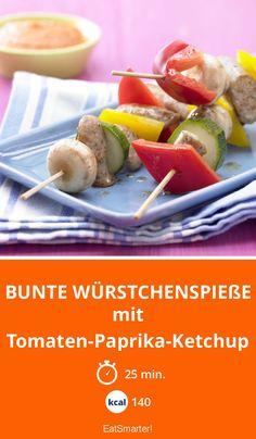 Bunte Würstchenspieße - mit Tomaten-Paprika-Ketchup - smarter - Kalorien: 140 kcal - Zeit: 25 Min. | eatsmarter.de