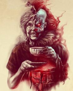 """No one who dies here ever really dies"" Horror Movie Characters, Horror Movie Posters, Movie Poster Art, Horror Movies, Clown Horror, Arte Horror, Horror Art, Desenhos Halloween, Scary Drawings"