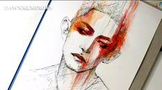 RED Watercolor Portrait Sketch