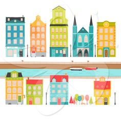 Little European Village House Clip Art Clipart Set - Commercial and Personal use