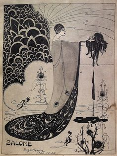 SALE Antique Art Nouveau Ink Drawing Japanese Listed Artist Kaizo Osawa SALOME Aubrey Beardsley Style Work on Paper 1920s Painting on Etsy, $1,499.00