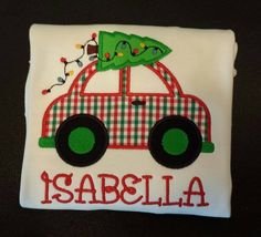 Christmas Car with Christmas Tree and Lights Applique Personalized Bib, Bodysuit or T-Shirtis appliqued directly onto a super soft white bib, bodysuit or t-shirt with your child's name embroidered directly below the applique in your choice of font style. Choose from boy's crew neck t-shirt or girl's lettuce edge t-shirt. Choose your favorite font style here .  Leave information in boxes below.