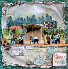 """DT LO created for Kaisercraft using new """"Outdoor Trail"""" Collection. Go Camping, Camping Hacks, Specialty Paper, Weekends Away, Clear Stamps, Rafting, Scrapbooking Layouts, Thank You Cards, Projects To Try"""