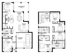 Riviera 33 - Double Level - Floorplan by Kurmond Homes - New Home Builders Sydney NSW 4 Bedroom House Plans, Dream House Plans, House Floor Plans, House Layout Plans, House Layouts, Floor Plans 2 Story, Double Storey House Plans, House Plans Australia, Pool House Designs