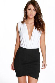Annora Textured Wrap Front Mini Skirt