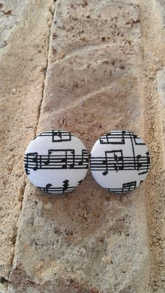 Music Note Fabric Button Earrings by LaVieBelle on Etsy, $5.00