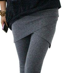 Womens Faux Slim Fashion Leggings Ankle Length Casual with Skirt Wrap - Fresh Fit Soul - Premium Leggings for Under $21