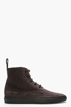 COMMON PROJECTS Midnight purple suede training boots