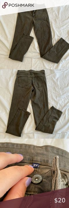 Laura Scott Hose Damen Destroyed Skinny Jeans Denim Used-Look Grün Khaki SALE