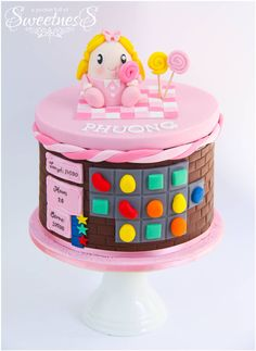 Pink Candy Crush Saga themed birthday cake created by A Pocket full of Sweetness