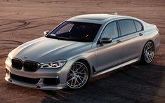 Download wallpapers BMW M760Li, 2017, Silver M7, BMW G12, luxury sedan, tuning G12, German cars, silver M7, BMW