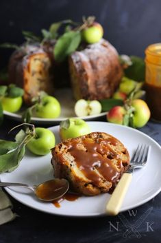 Toffee-Apple Sour Cream Cake (with a Salted Caramel Drizzle)