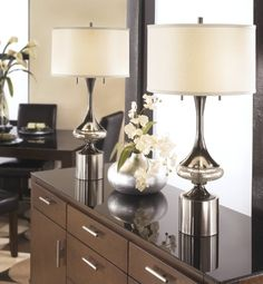 ASHLEY L433294 ART DECO CHROME DESK LAMP (PACK OF 2)  - Click image twice for more info - See a larger selection of pull chain table lamps at http://tablelampgallery.com/product-category/pull-chain-table-lamps/ - home, home decor, lamp, lighting , gift ideas.