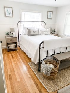 Today I am taking you on tour of our farmhouse guest bedroom. The natural light . Today I am taking you on tour of our farmhouse guest bedroom. The natural light and mix of bright whites, wood tones, and greenery help to create a warm Small Room Bedroom, Cozy Bedroom, Modern Bedroom, Bed Room, Natural Bedroom, Spare Bedroom Ideas, Cottage Bedroom Decor, Contemporary Bedroom, Cottage Bedrooms
