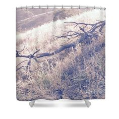 """Fallen Branch Beside a Field of Gold Shower Curtain for sale by Leah McPhail.  This shower curtain is made from 100% polyester fabric and includes 12 holes at the top of the curtain for simple hanging.  The total dimensions of the shower curtain are 71"""" wide x 74"""" tall."""