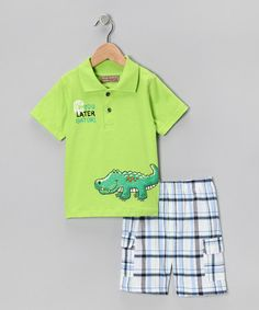 Take a look at this Lime Plaid Gator Polo & Shorts - Toddler by Kids Headquarters on #zulily today!