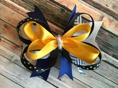 Blue, White & Yellow with Black Polka Dot Stacked Hair Bow by ReeseAndLayne on Etsy