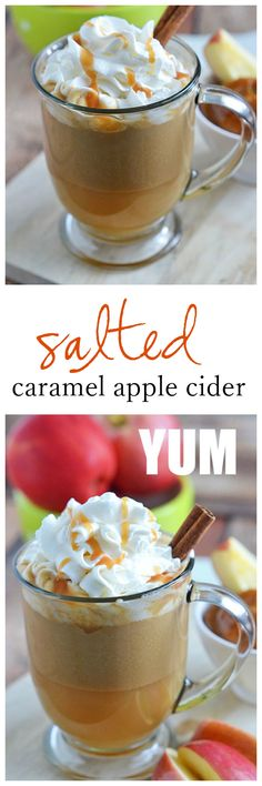 This Salted Caramel Apple Cider is the perfect way to warm up on cool fall nights. With just a few ingredients and 10 minutes, you'll be sipping your way to fall flavors in no time! Apple Recipes, Fall Recipes, Holiday Recipes, Caramel Recipes, Apple Desserts, Drink Recipes, Winter Drinks, Holiday Drinks, Party Drinks