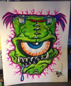 Emoji Drawings, Cool Drawings, Graffiti Drawing, Graffiti Art, Frankenstein Art, Pinstripe Art, Satanic Art, Joker Art, Garage Art