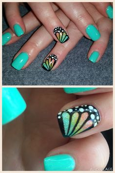 Butterfly winga nail art tutorial. Love these nails!! Summer, spring. Bright colors. Fun amazing butterflies