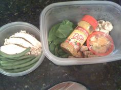 From Amanda Adams:    MEAL 1   Spinach Salad w baked chicken   -croutons (Ezekiel bread toasted w garlic n pepper)     - sliced apples n tangerine (so yum!)   - empty Ms. Dash containers make PERFECT on the go holders for homemade salad dressings! (1tbs of olive oil, vinegar, mustard, and a little bit of southwest spicy mustard--- shake it up and it's ready!)     MEAL 2   Baked Chicken w Brown Rice and green beans! :) I eat my chicken n rice w low carb low sugar Heinz ketchup! :)