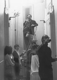 François Truffaut, Suzanne Schiffman, Claude Jade and Nestor Almendros in the apartment on the fourth floor, above the offices of Les Films du Carrosse, where the scenes of Antoine and Christine's married life in Domicile conjugal were filmed. 1970.