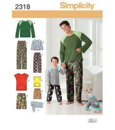 Simplicity Pattern 2318-Men Boy Sleepwear-S-L / S-Xl