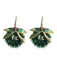 European Style Sweet Bowknot #Christmas Loop Gold Plating Earrings