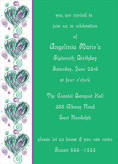 """Scrolly Hearts Invitation, 4 7/8"""" x 6 3/4"""", full color as shown.  $26.00 for 16 invitations."""