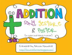 First Grade in Foxwell Forest: Addition Song, Gesture, and Posters FREEBIE!