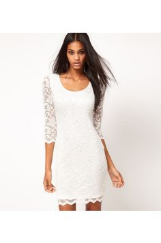 Wear with cowboy boots? I think yes.   $33.99 Round Neck White Lace Dress @ MayKool.com