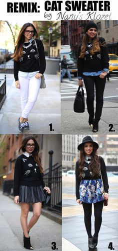 Graphic sweater, button up underneath, white skinny jeans. Graphic sweater, chambray underneath, black jeans. Graphic sweater, black hat, skirt, black sheer tights.
