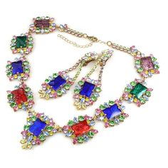 Lagoon Necklace Set ~ Blue Earrings. Exquisite jewelry multicolor set. $79.90