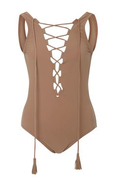 Entwined Lace Up One Piece by KARLA COLLETTO for Preorder on Moda Operandi
