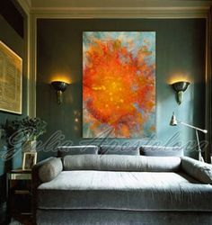 Sunset Painting, Watercolor Abstract Print, Sunrise, Sun Painting, Abstract Canvas Art, Large Print, Orange Painting, orange home wall decor