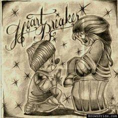 Chicano art Chicano Drawings, Chicano Tattoos, Body Art Tattoos, Gangster Drawings, Art Drawings, Chicano Love, Chicano Art, Cholo Art, Chola Style