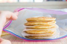 How to Freeze and Reheat Pancakes Freeze Pancakes, How To Make Pancakes, Homemade Pancakes, Fluffy Pancakes, Types Of Pancakes, Whole Wheat Pancakes, Freezer Meals, Freezer Cooking, Food Hacks