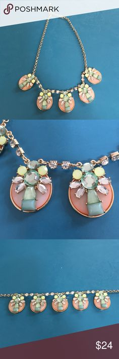 Peach, green & yellow necklace What a fun piece!  Measures  30 inches long. Chain can extend or be made smaller. Great colors! Jewelry Necklaces
