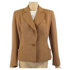 Vintage 1950s Sacony Tan Suit Jacket Sz 16 B42 W32