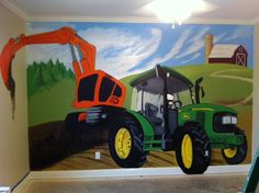 My brother-in-law painted this tractor mural for my 3 year old son.