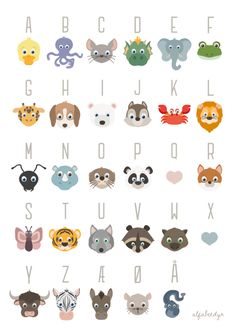 The french ABC poster · Alfabetdyr Abc Poster, Poster Prints, Kids Z, Diy For Kids, Format A3, Animal Templates, Baby Barn, Baby Room Art, Toddler Preschool
